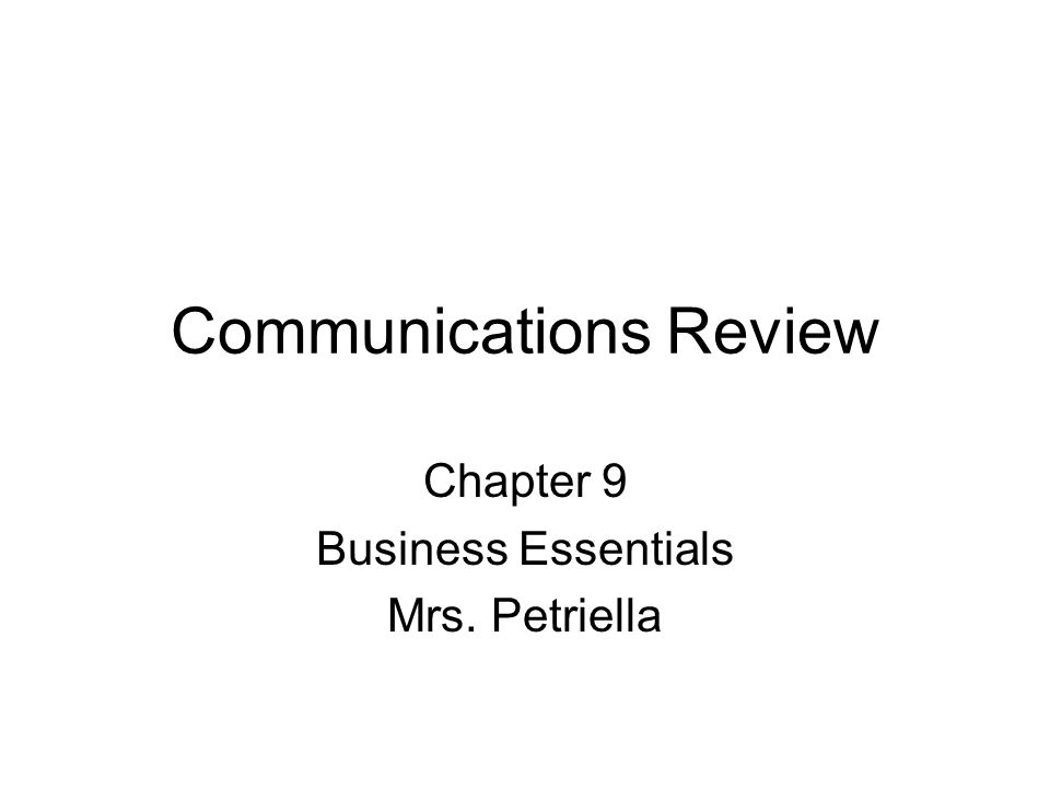 Communications Review