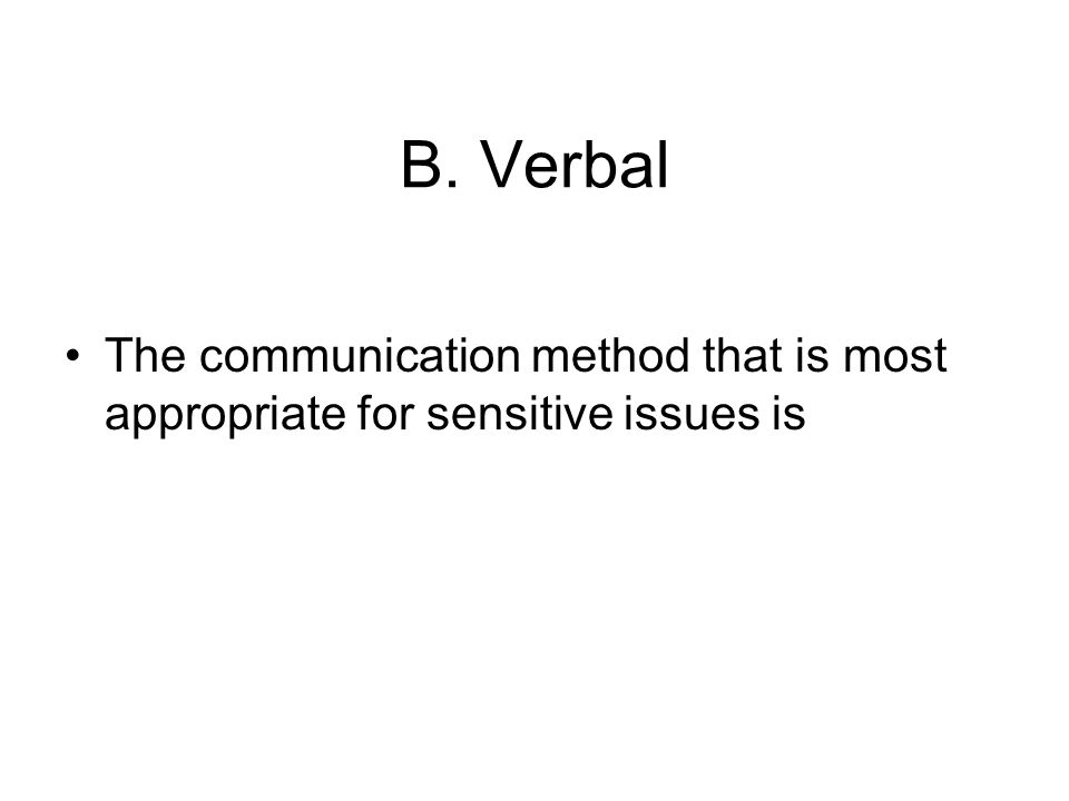 B. Verbal The communication method that is most appropriate for sensitive issues is