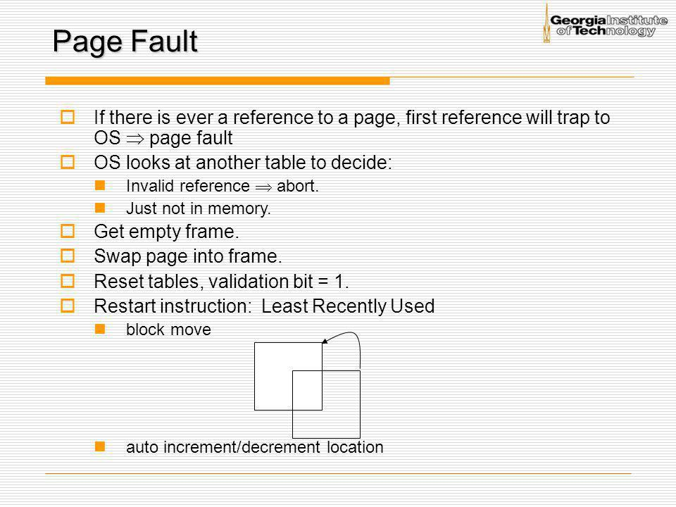 Page Fault If there is ever a reference to a page, first reference will trap to OS  page fault. OS looks at another table to decide: