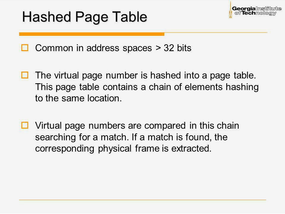 Hashed Page Table Common in address spaces > 32 bits