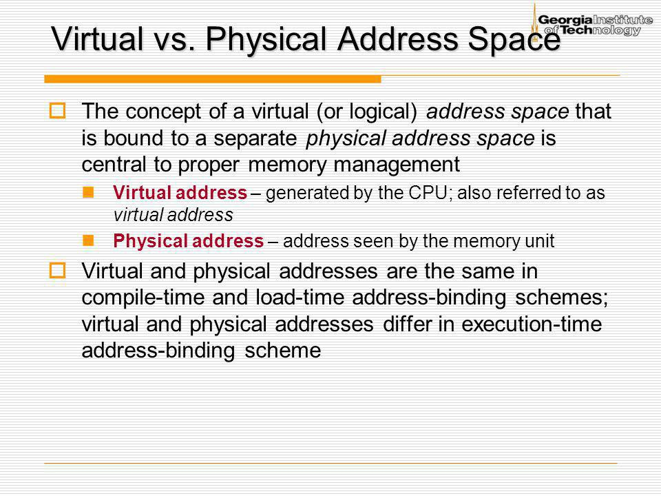 Virtual vs. Physical Address Space