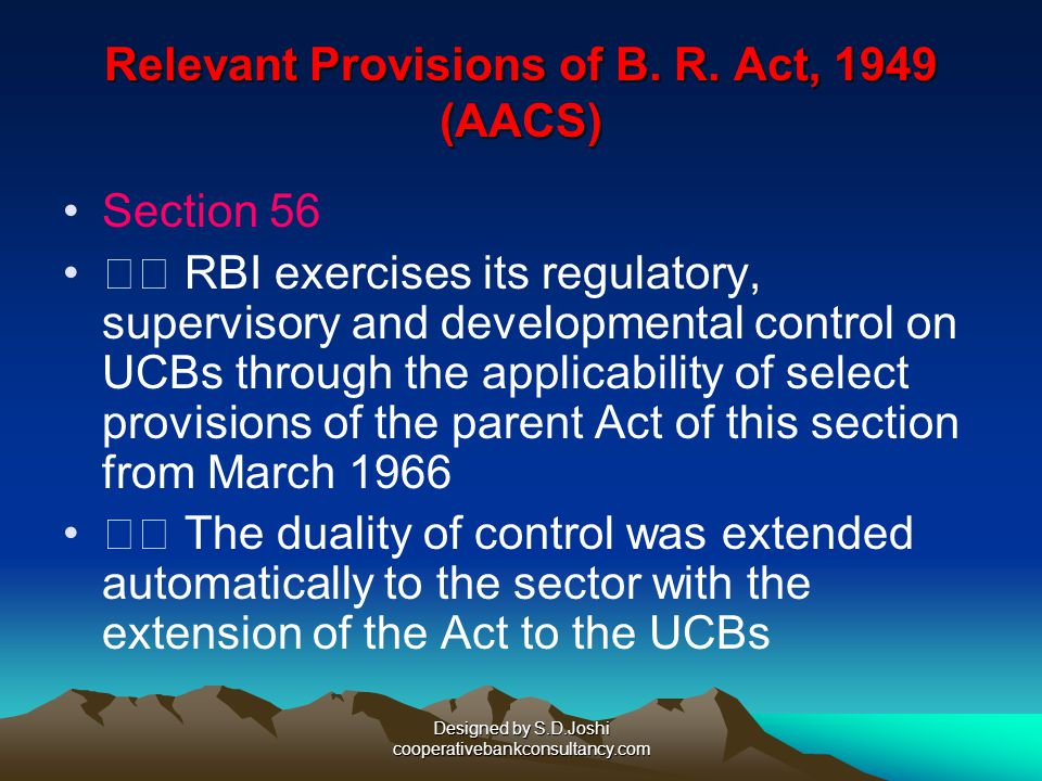 Relevant Provisions of B. R. Act, 1949 (AACS)