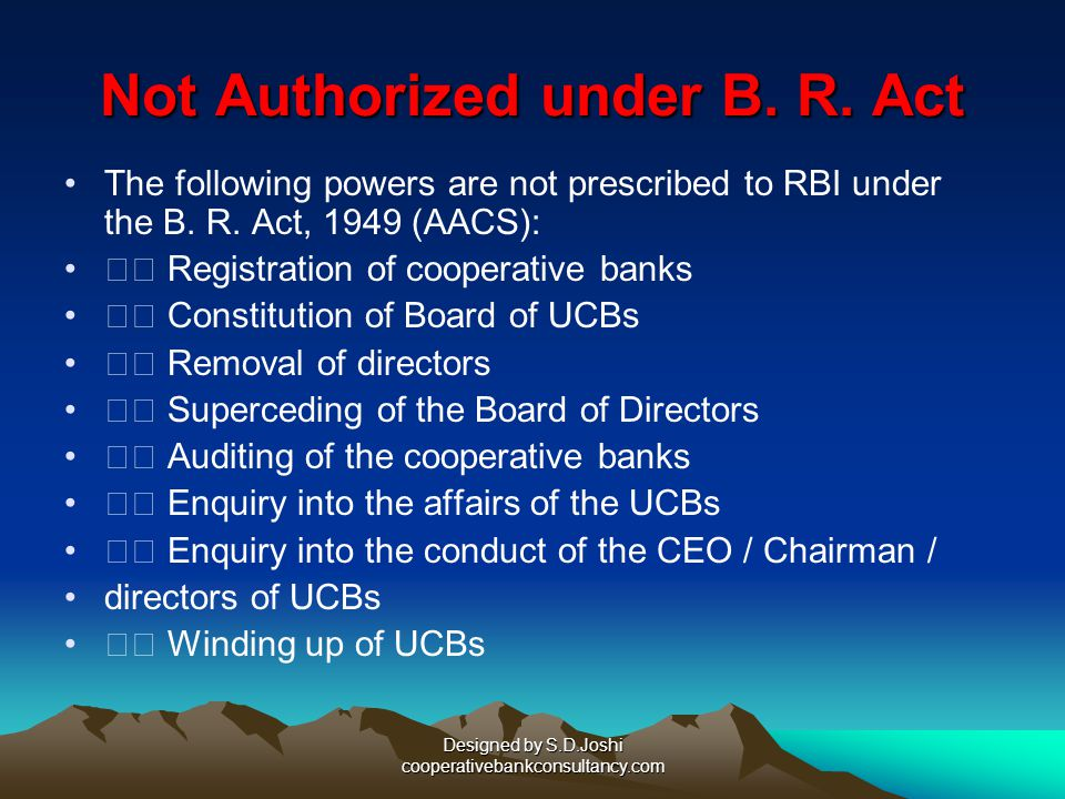Not Authorized under B. R. Act