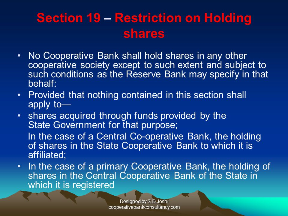 Section 19 – Restriction on Holding shares