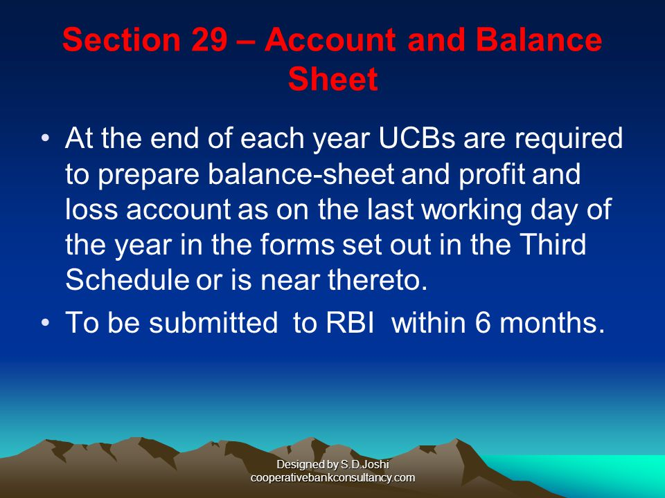 Section 29 – Account and Balance Sheet