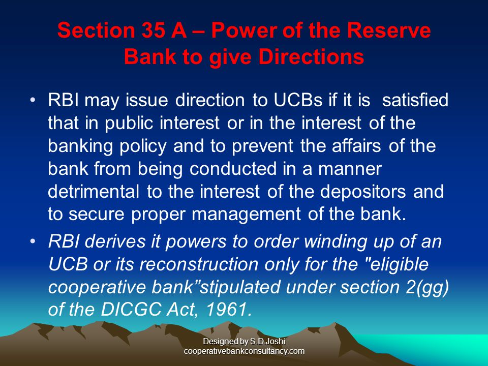 Section 35 A – Power of the Reserve Bank to give Directions