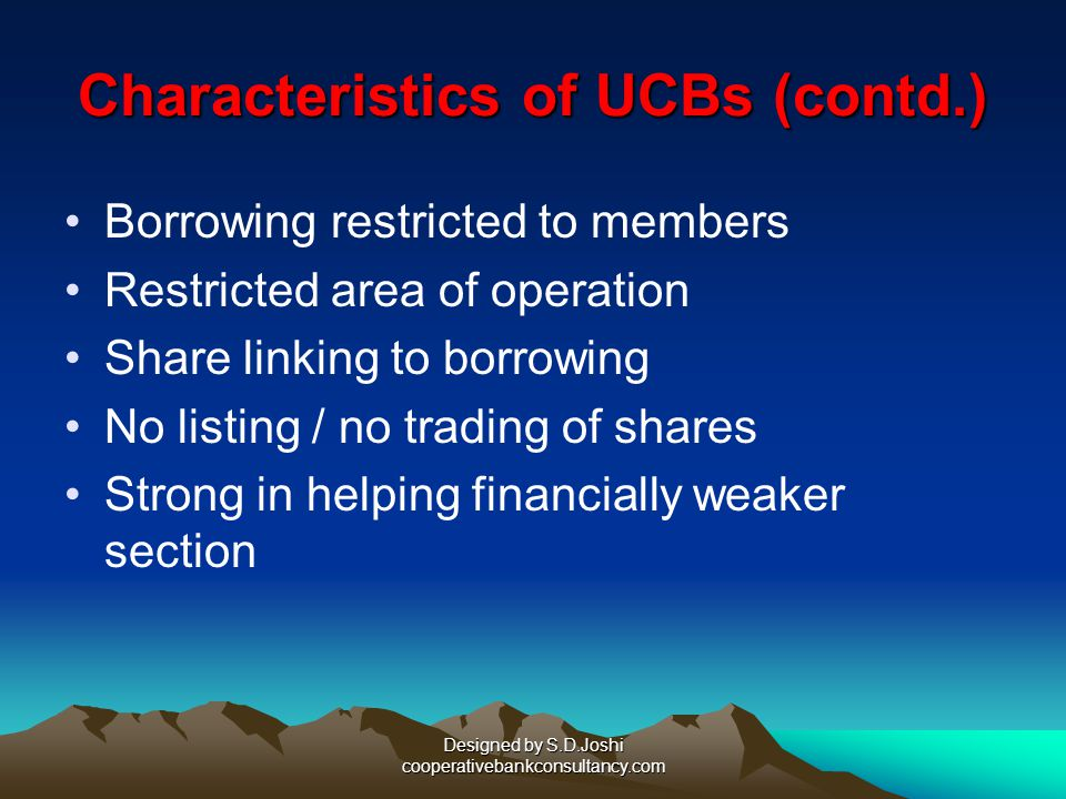 Characteristics of UCBs (contd.)