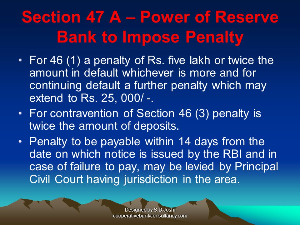 Section 47 A – Power of Reserve Bank to Impose Penalty