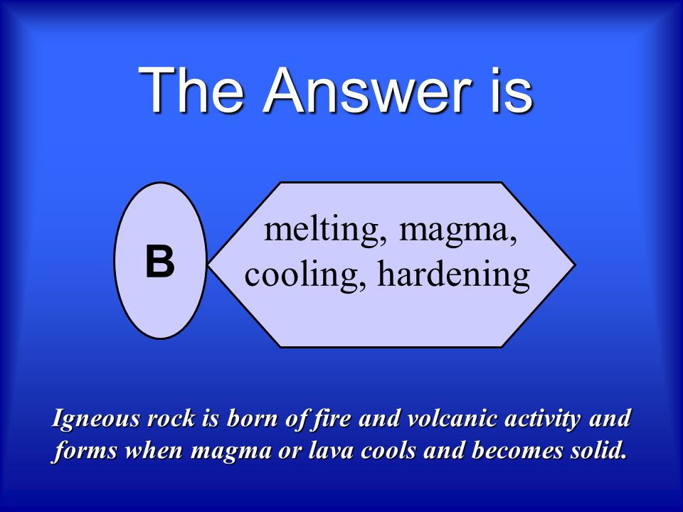 The Answer is B melting, magma, cooling, hardening