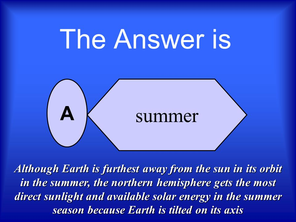 The Answer is summer. A.