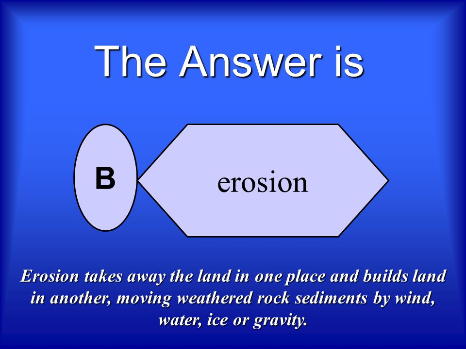 The Answer is erosion. B.
