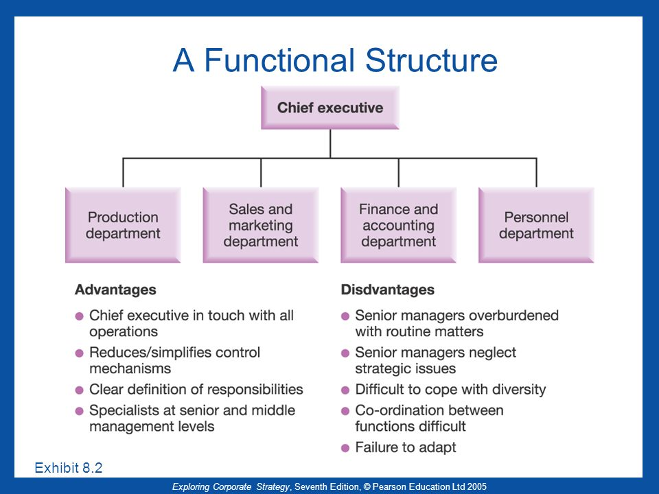 defining organizational structure and functions Definition of functional organization: the classic organizational structure where the employees are grouped hierarchically.