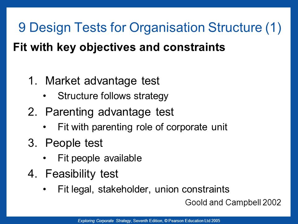 9 Design Tests for Organisation Structure (1)