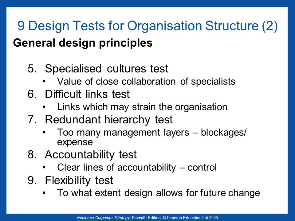 9 Design Tests for Organisation Structure (2)