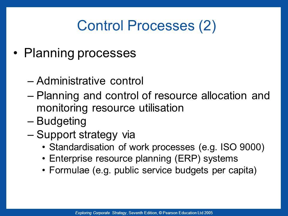 Control Processes (2) Planning processes Administrative control