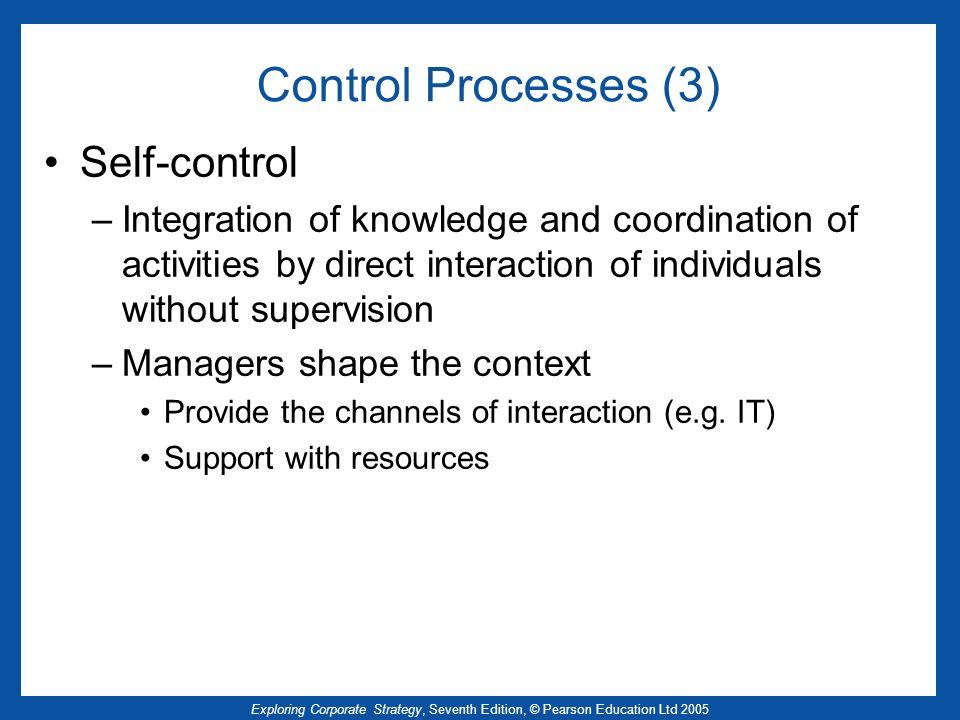 Control Processes (3) Self-control