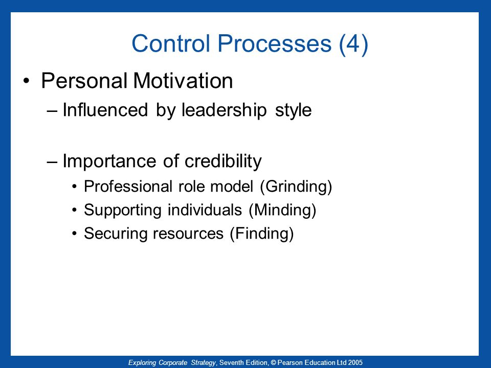 Control Processes (4) Personal Motivation