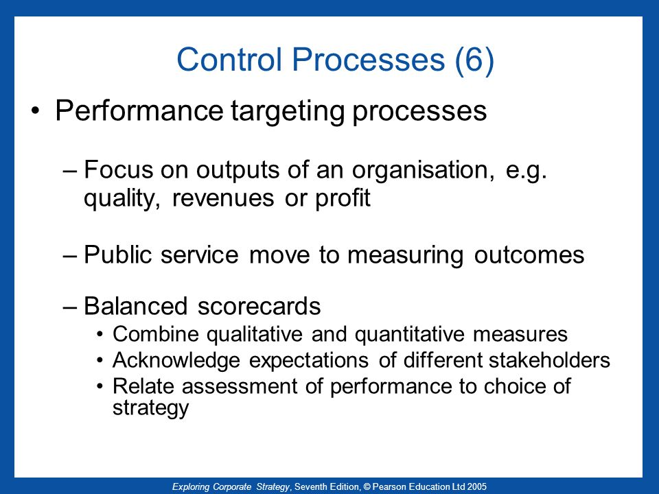 Control Processes (6) Performance targeting processes