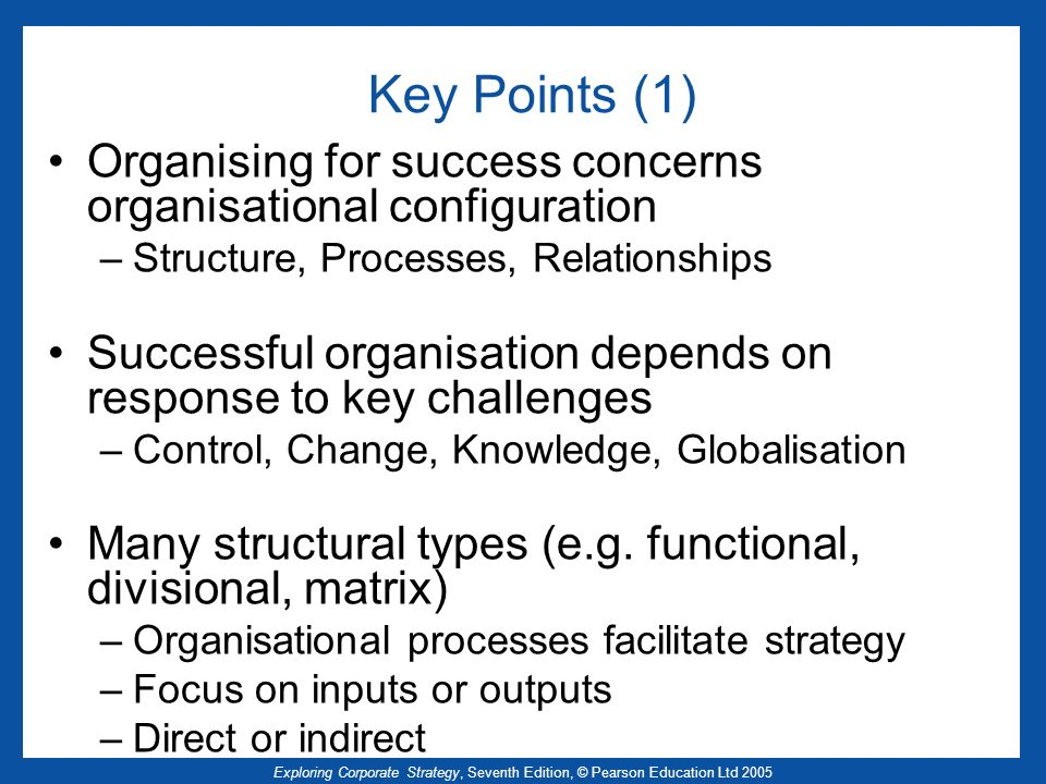 Key Points (1) Organising for success concerns organisational configuration. Structure, Processes, Relationships.
