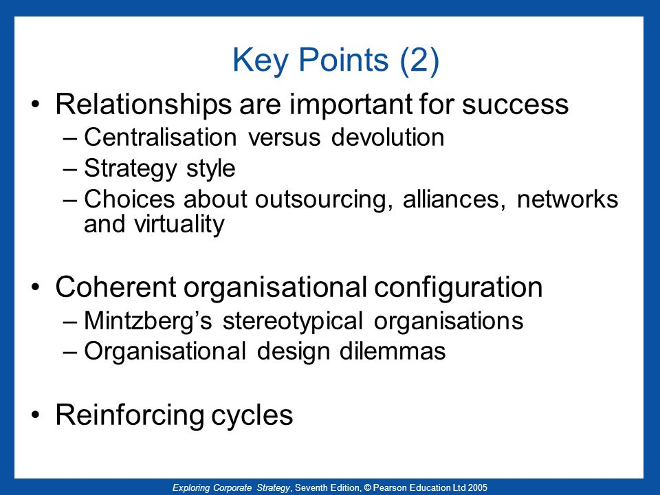 Key Points (2) Relationships are important for success