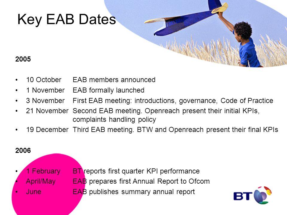 Key EAB Dates 2005 10 October EAB members announced
