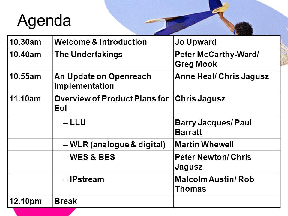 Agenda 10.30am Welcome & Introduction Jo Upward 10.40am