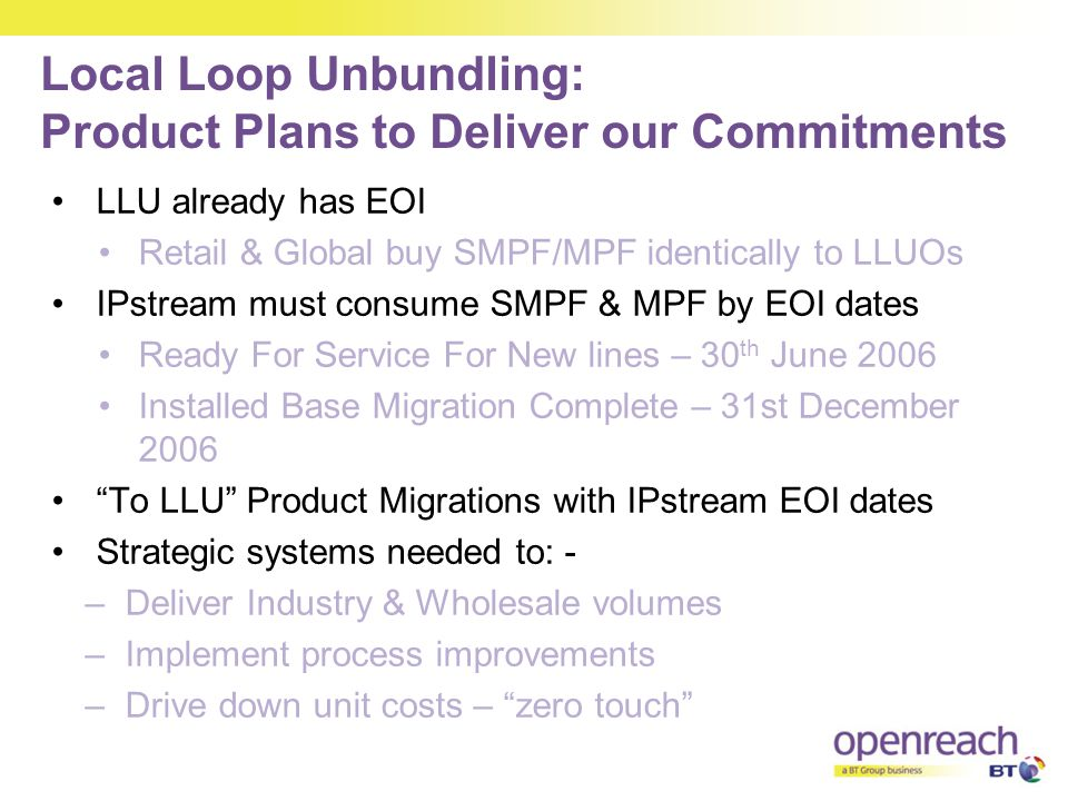 Local Loop Unbundling: Product Plans to Deliver our Commitments