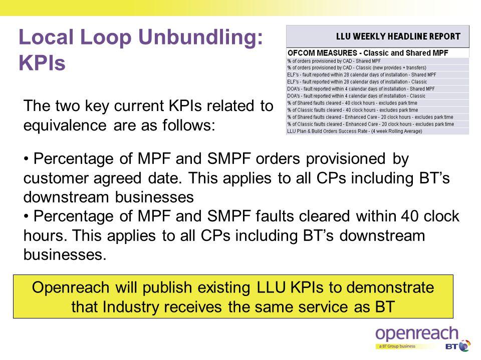 Local Loop Unbundling: KPIs