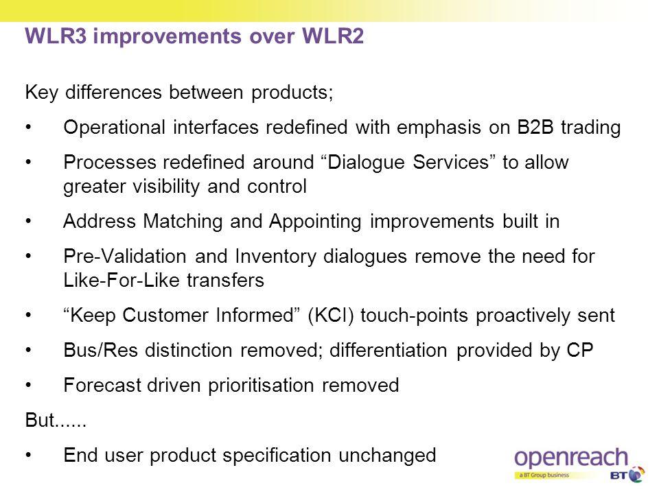 WLR3 improvements over WLR2