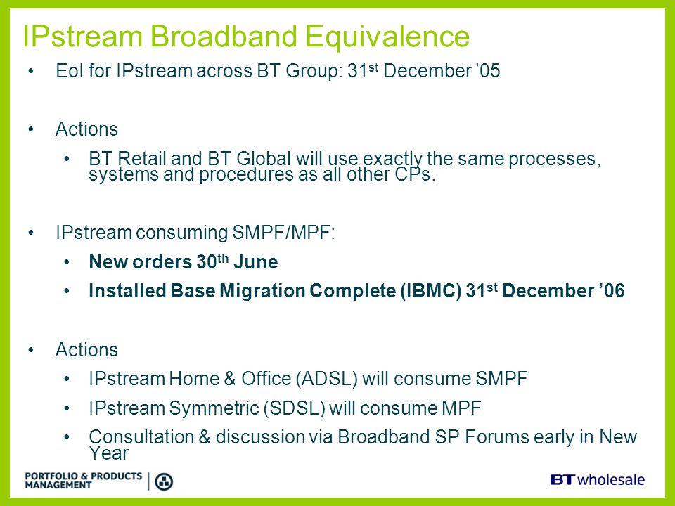 IPstream Broadband Equivalence