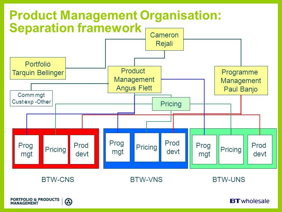 Product Management Organisation: Separation framework