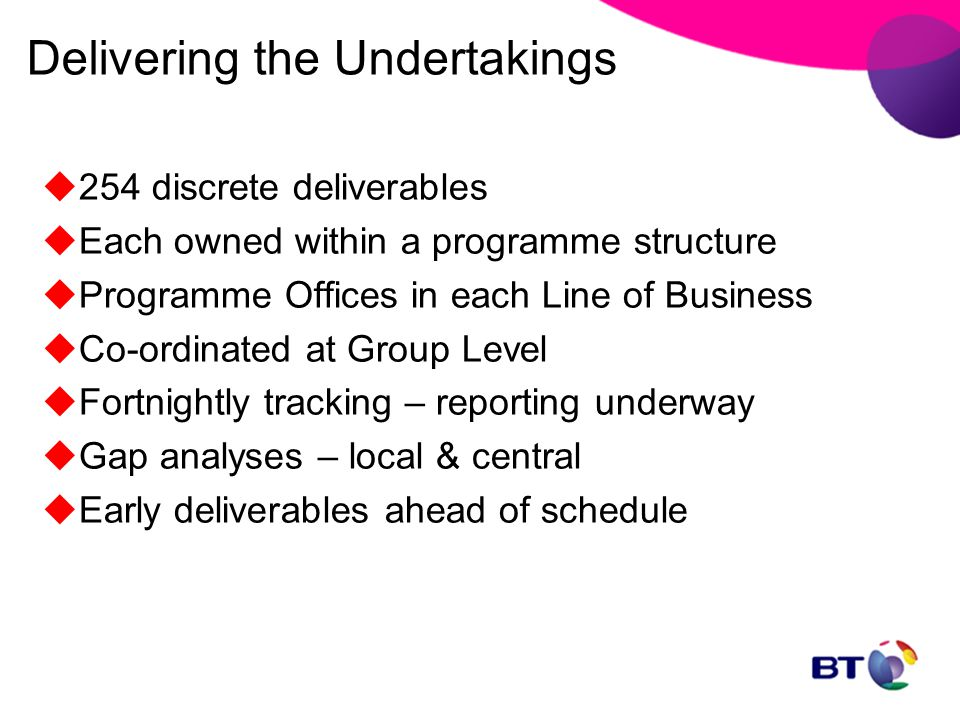 Delivering the Undertakings