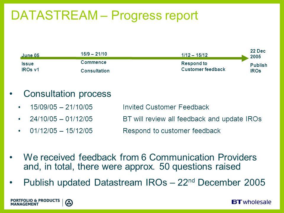 DATASTREAM – Progress report