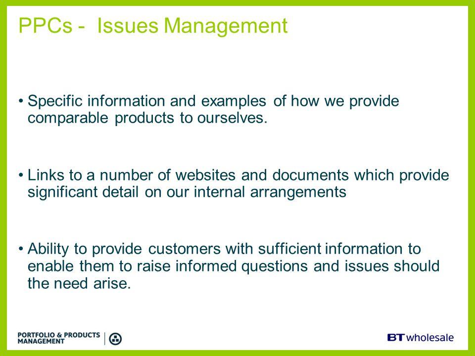PPCs - Issues Management