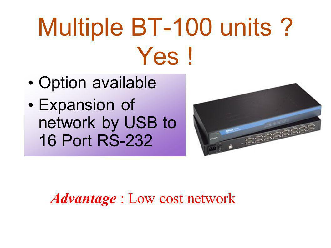 Multiple BT-100 units Yes ! Option available