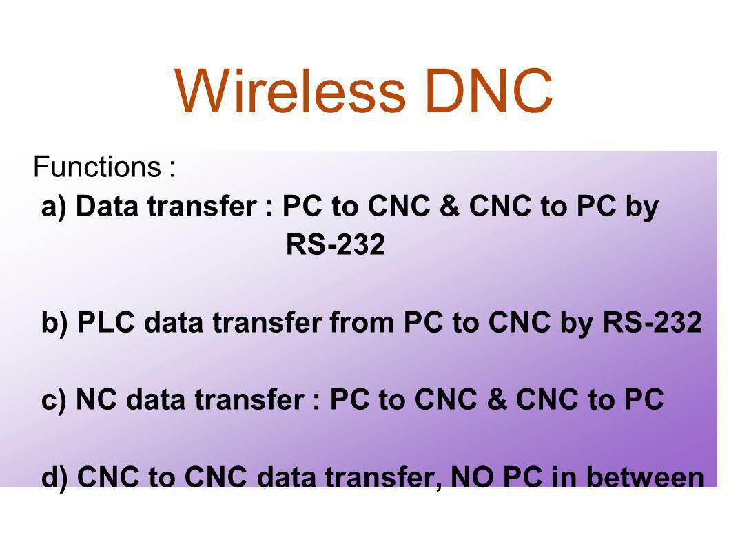 Wireless DNC Functions : a) Data transfer : PC to CNC & CNC to PC by