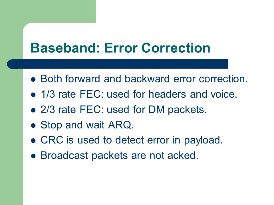 Baseband: Error Correction
