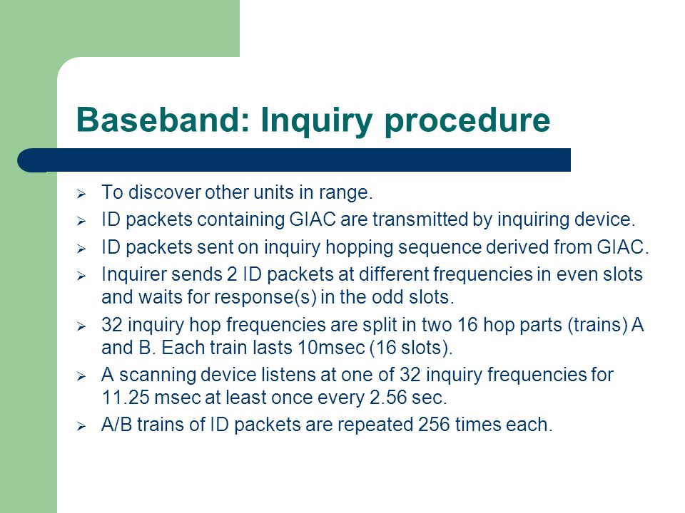 Baseband: Inquiry procedure