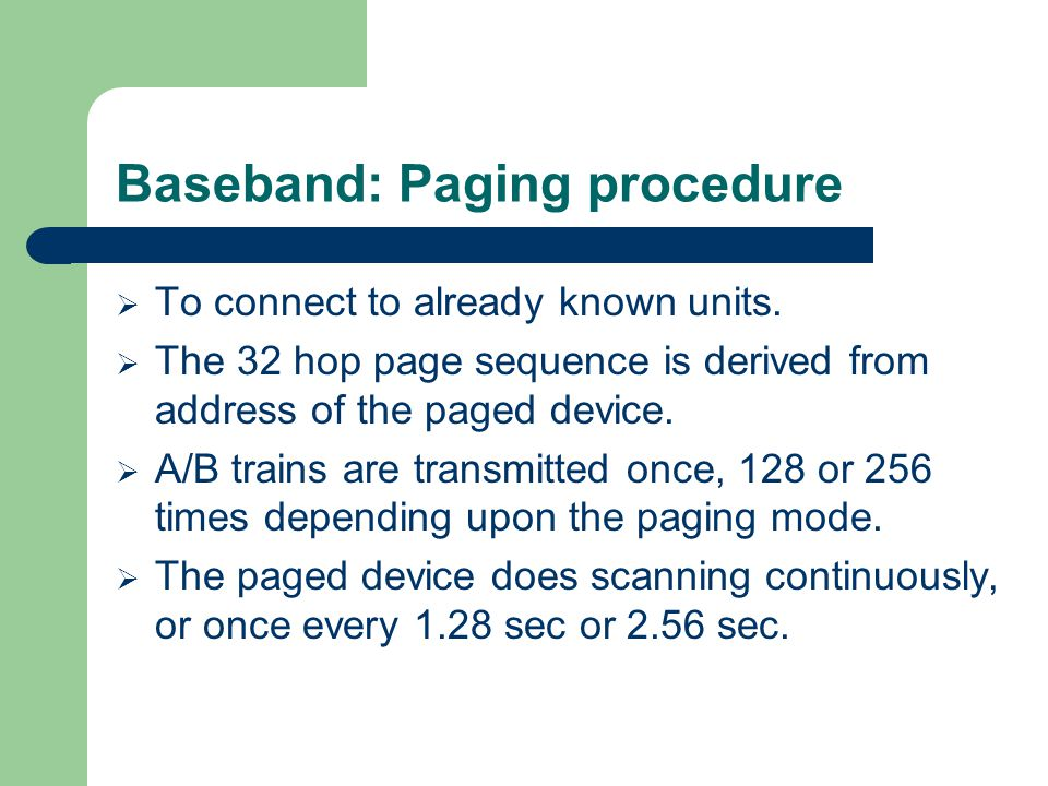Baseband: Paging procedure