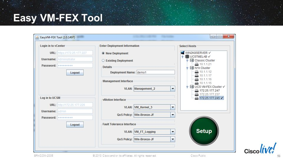 Easy VM-FEX Tool VMware solution only today with UCS