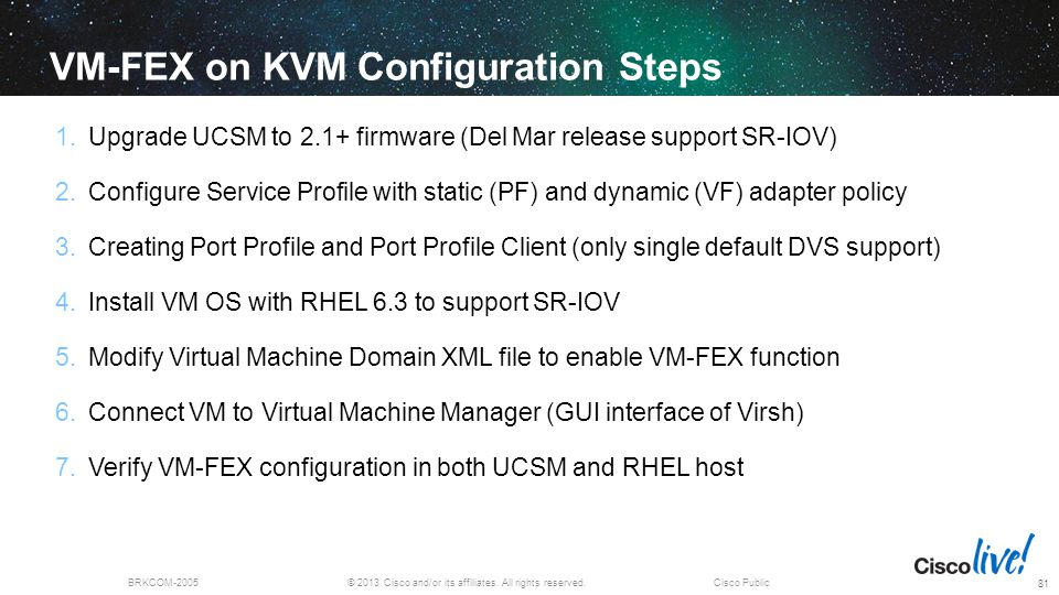 VM-FEX on KVM Configuration Steps