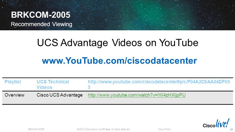 UCS Advantage Videos on YouTube