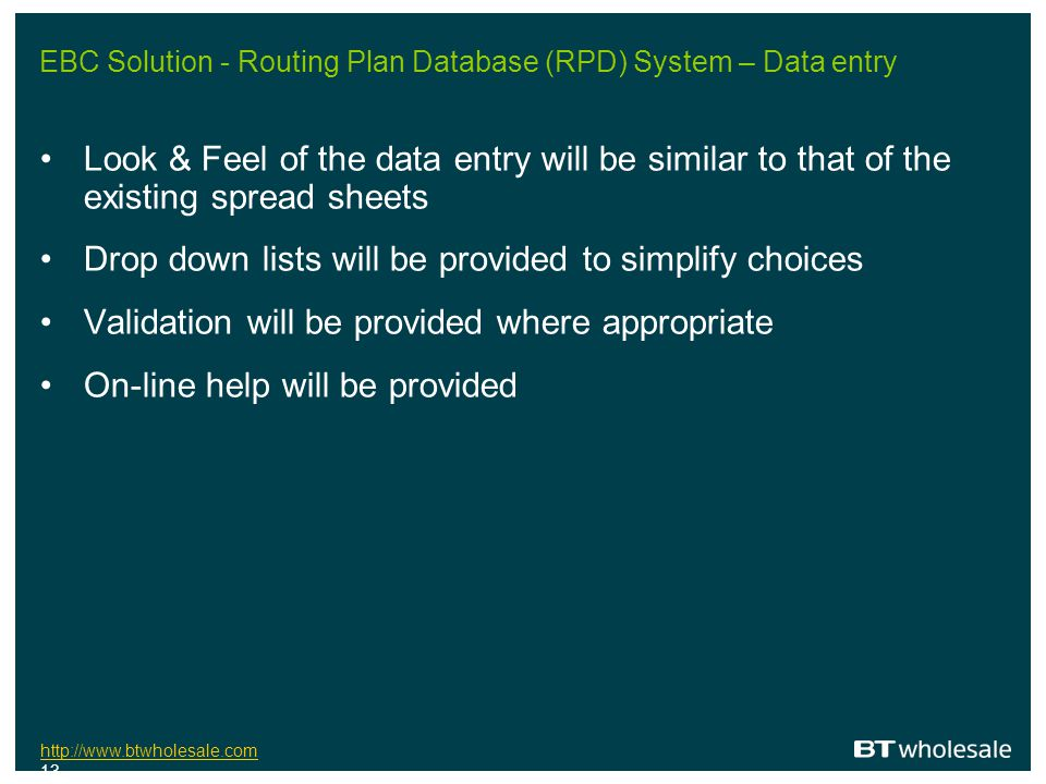 EBC Solution - Routing Plan Database (RPD) System – Data entry