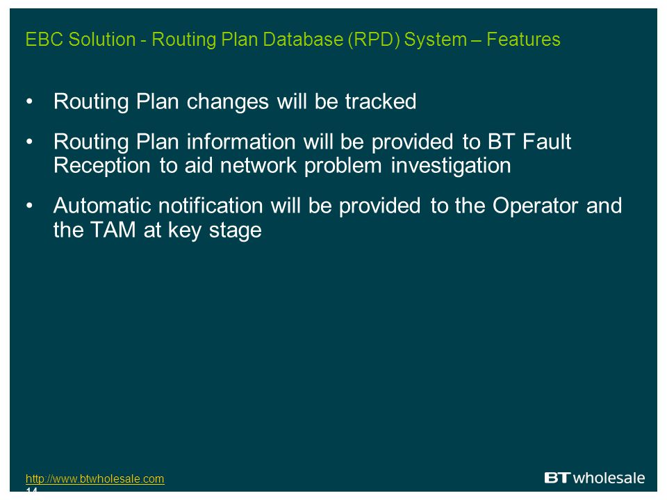 EBC Solution - Routing Plan Database (RPD) System – Features