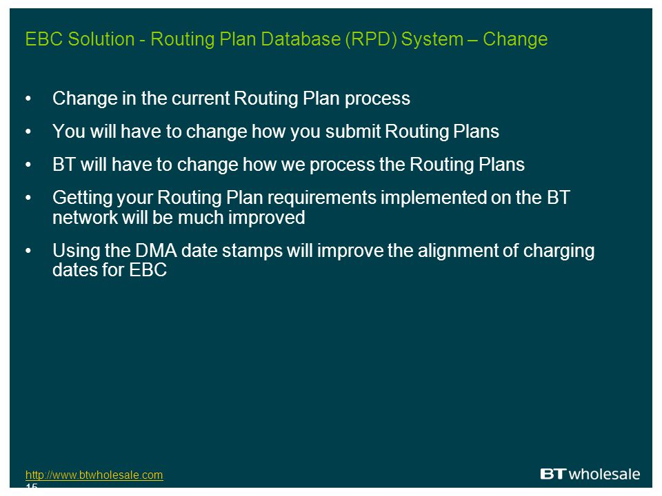 EBC Solution - Routing Plan Database (RPD) System – Change