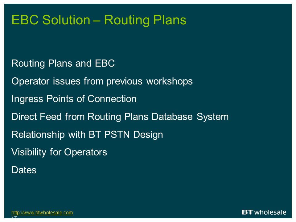 EBC Solution – Routing Plans