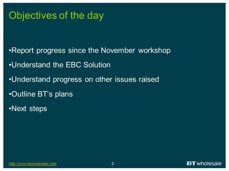 Objectives of the day Report progress since the November workshop