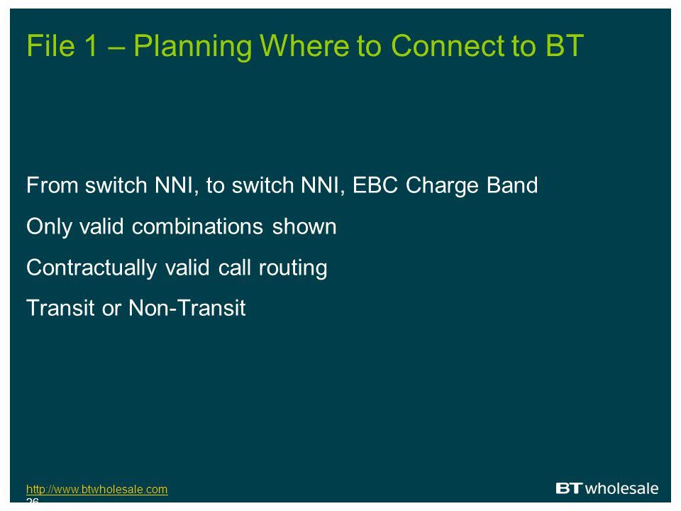 File 1 – Planning Where to Connect to BT
