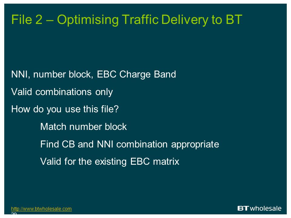 File 2 – Optimising Traffic Delivery to BT