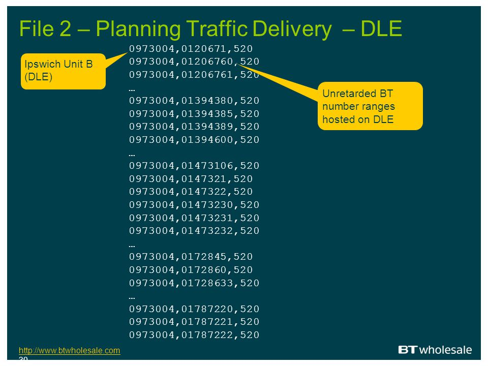 File 2 – Planning Traffic Delivery – DLE